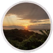 Sunrise At Montauk Point State Park Round Beach Towel