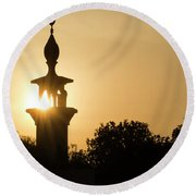 Sunrise At Mosque Of Tadjourah In Djibouti East Africa Round Beach Towel