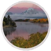 Sunrise At Oxbow Bend Round Beach Towel