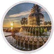 Sunrise At Pineapple Fountain Round Beach Towel