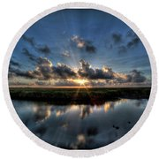 Sunrise At Sabine Pass Round Beach Towel