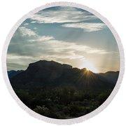 Sunrise At Sabino Canyon Round Beach Towel