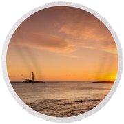 Sunrise At St Mary's Lighthouse Round Beach Towel