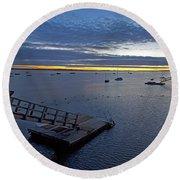 Sunrise At The Barnstable Yacht Club Round Beach Towel