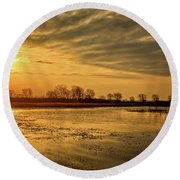 Sunrise At The Big Marsh Round Beach Towel