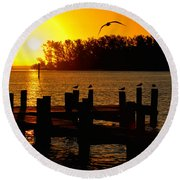 Sunrise At The Boat Launch  Round Beach Towel