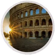 Sunrise At The Colosseum Round Beach Towel