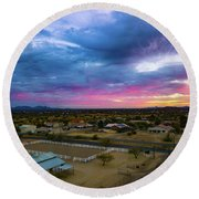 Sunrise At The Horse Barn Round Beach Towel