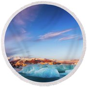Sunrise At The Iceberg Lagoon Round Beach Towel