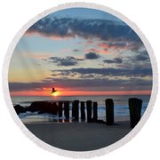 Sunrise At The Jersey Shore Round Beach Towel