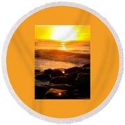 Sunrise At The Jetty Round Beach Towel