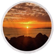Sunrise At The Jetty Round Beach Towel