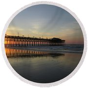 Sunrise At The Pier Round Beach Towel