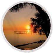 Sunrise At The Pier Round Beach Towel