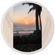 Sunrise At The Pipe Round Beach Towel