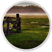 Sunrise At The Ranch Round Beach Towel