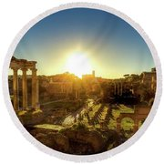Sunrise At The Ruins Round Beach Towel