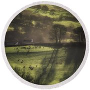 Sunrise At The Sheep Farm Round Beach Towel