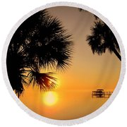 Sunrise At The Space Coast Fl Round Beach Towel