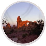 Sunrise At Tower Arch Round Beach Towel