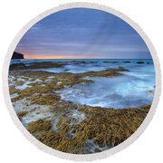 Sunrise Beneath The Storm Round Beach Towel by Mike  Dawson