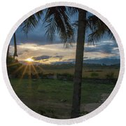 Sunrise Between The Palms Round Beach Towel