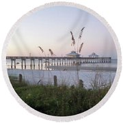 Sunrise Beyond Pier Round Beach Towel