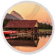 Sunrise Boat House Round Beach Towel