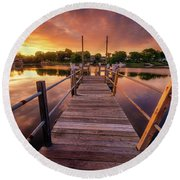 Sunrise By The Ramp Round Beach Towel