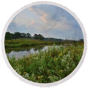 Sunrise Clouds Above Glacial Park's Nippersink Creek Round Beach Towel