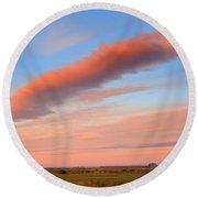 Sunrise Clouds And Barn Round Beach Towel
