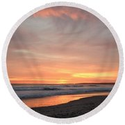 Sunrise Clouds Over The Atlantic November 5 2016 Round Beach Towel