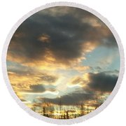 Sunrise Cloudscape Round Beach Towel