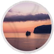 Sunrise Departure Round Beach Towel