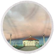 Sunrise Drama - Manhattan Beach Pier Round Beach Towel