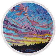 Sunrise Freezing Rain Deformation Zone Round Beach Towel by Phil Chadwick