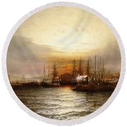 Sunrise From Chapman Dock And Old Brooklyn Navy Yard, East River, New York Round Beach Towel