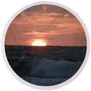 Sunrise From The Waves Round Beach Towel