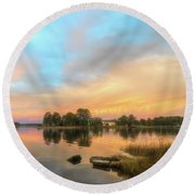 Sunrise, From The West Round Beach Towel by Cindy Lark Hartman