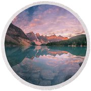 Sunrise Hour At Banff Round Beach Towel