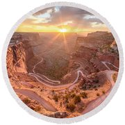 Sunrise In Canyonlands Round Beach Towel