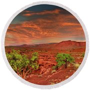 Sunrise In Capitol Reef National Park Utah Round Beach Towel