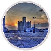 Sunrise In Detroit Mi Round Beach Towel by Nicholas  Grunas