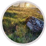 Sunrise In Field. Stone In Front Round Beach Towel