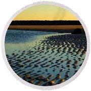Sunrise In Gold Round Beach Towel