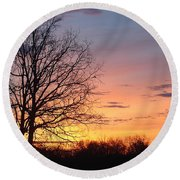 Sunrise In Illinois Round Beach Towel