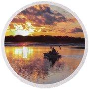 Sunrise In Murrells Inlet, Sc Round Beach Towel