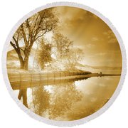 Sunrise In Sepia Round Beach Towel
