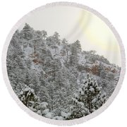Sunrise In Snowstorm In The Pike National Forest Round Beach Towel