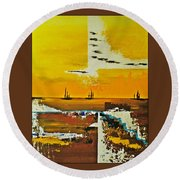 Sunrise In The West Round Beach Towel